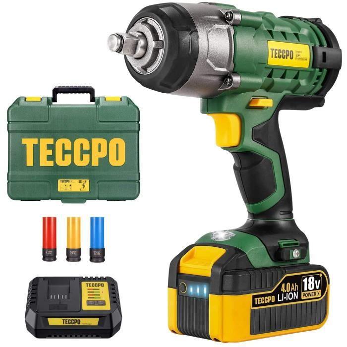 Clé à chocs sans fil, TECCPO 350Nm Boulonneuse a Choc, 4.0Ah Batterie, 1H charge rapide, 3 Douilles à Chocs pour Jantes Aluminium-17