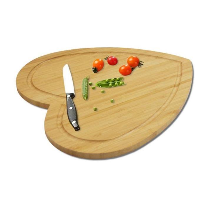 Planche à découper,Planche à découper en forme de cœur De 28x31.6cm planche à fromage, Double face disponible gâteau en bambou,