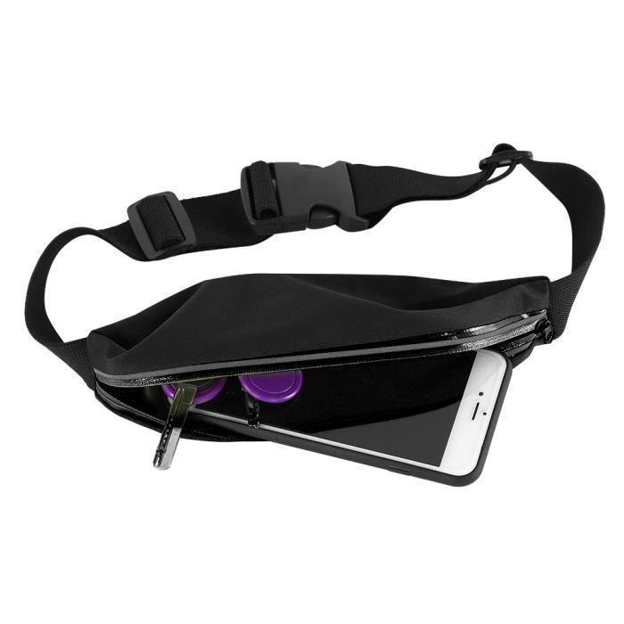 Garosa poches de course Running Belt Waist Pack Sports Sweatproof Bag Pouch for Randonnée Fitness Jogging (noir)
