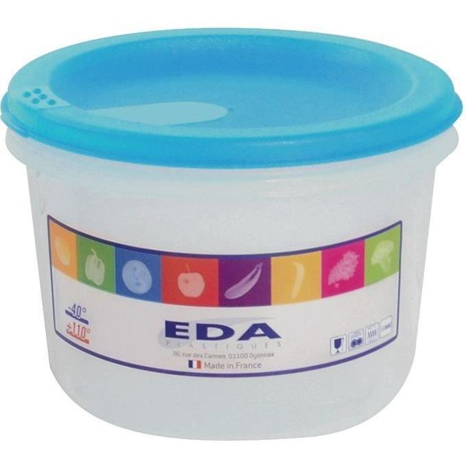 EDA - Boîte ronde 1l naturel couvercle turquoise acidulé