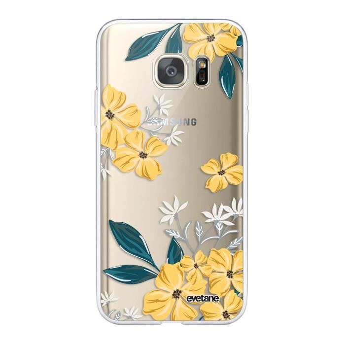 Coque Samsung Galaxy S7 360 intégrale transparente Fleurs jaunes Ecriture Tendance Design Evetane.
