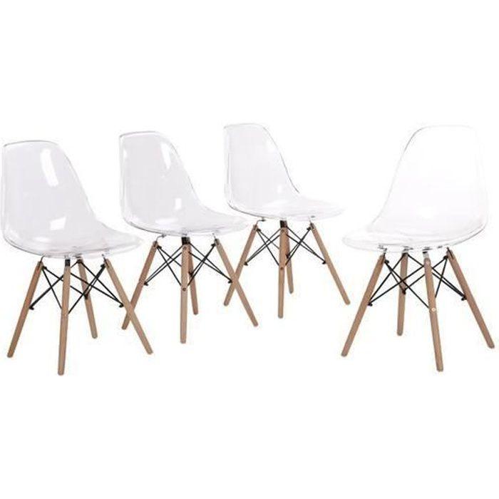 HJ Lot de 4 chaises Scandinave design tendance Salle à Manger Chaises de transparent Chaise - 45cm * 30cm * 82cm
