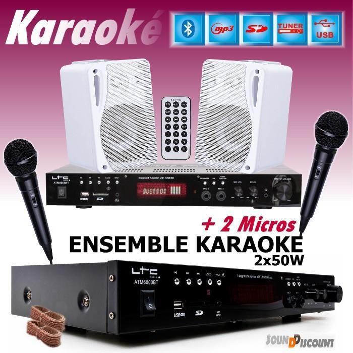 PACK KARAOKÉ COMPLET + 1 AMPLI USB MP3 SD BLUETOOTH + 2 MICROS + 2 ENCEINTES HIFI ... PA-DJ
