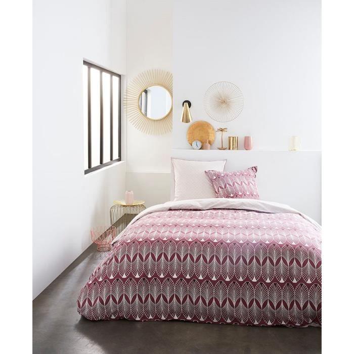 TODAY Parure de couette 220x240 + 2 taies d'oreiller 65x65 cm - 100% Coton - Bordeaux Graphique SUNSHINE 4.7 TODAY