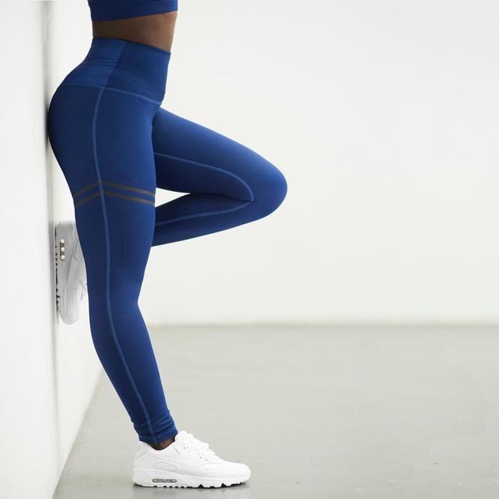 Leggings de Sport pour femmes Pantalons de yoga à haute taille Bleu - S