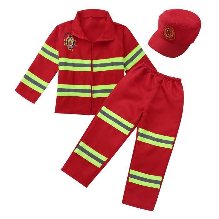 Déguisement Pompier Enfant Costume de Carnaval Cosplay Fête Anniversaire 4-12 Ans