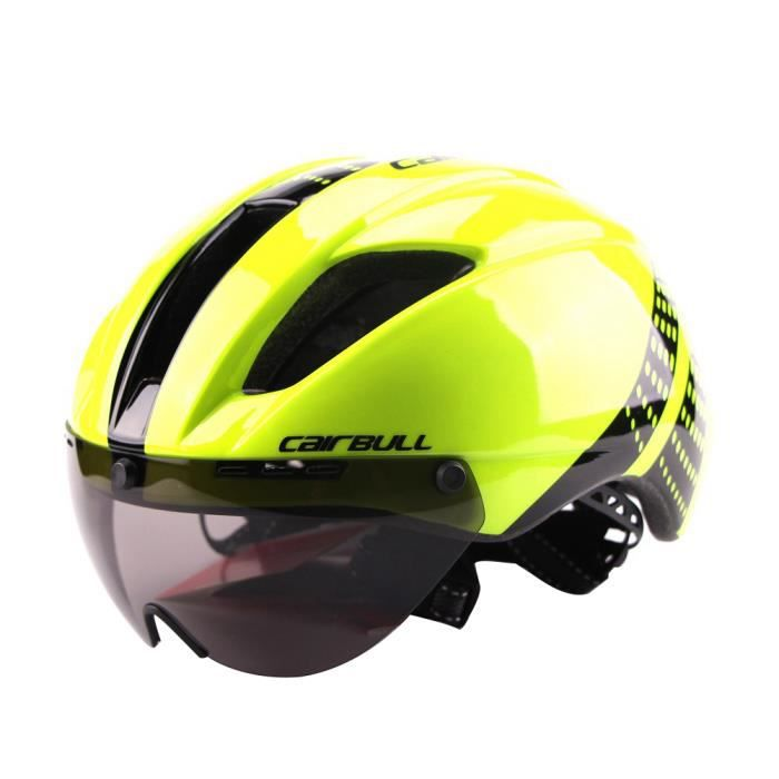 Casque de vélo unisexe Casque moto Casque de protection avec lunettes magnétiques détachables