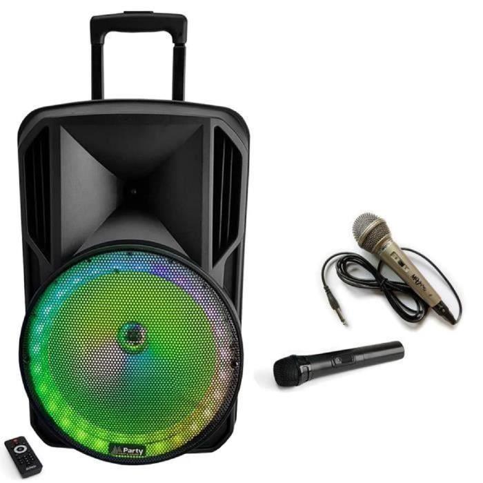 SONO KARAOKE ENCEINTE PORTABLE SECTEUR + BATTERIE + 2 MICROS + CABLE PC + BLUETOOTH + USB MP3 - idéal soirée en famille PACK SONO DJ