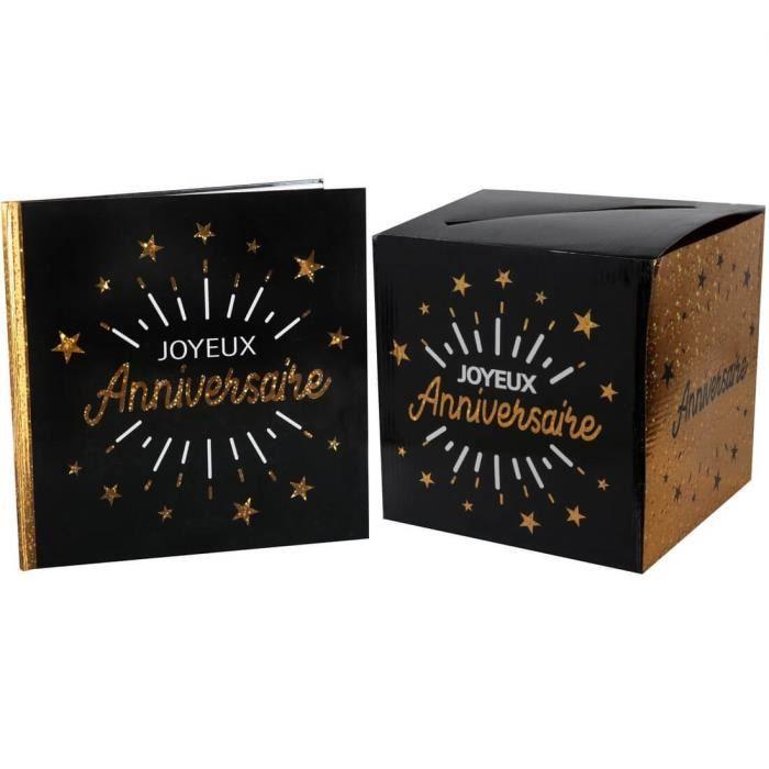 R/6651-6652 - 1 Pack urne et livre d'or joyeux anniversaire noir et or