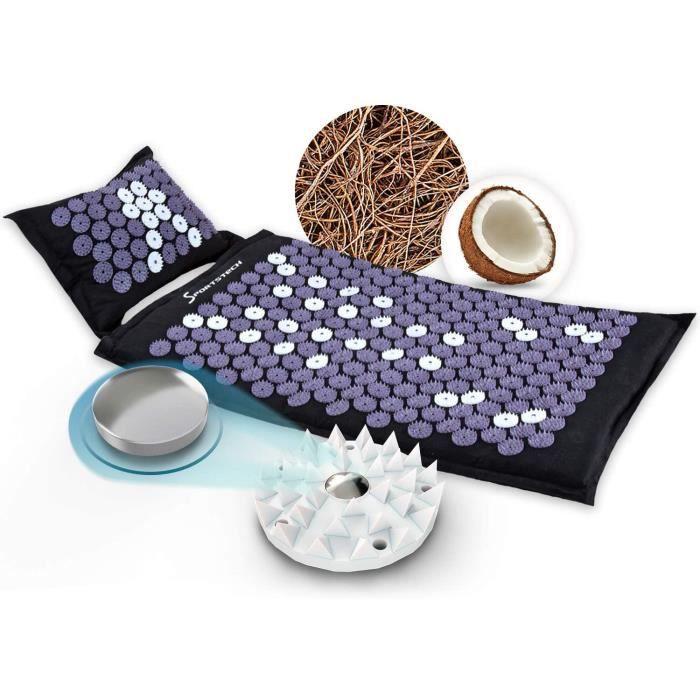 Tapis d'acupression AXM400 avec coussin - fibres naturelles de noix de coco + paillettes de sarrasin - avec fixation pour chaise