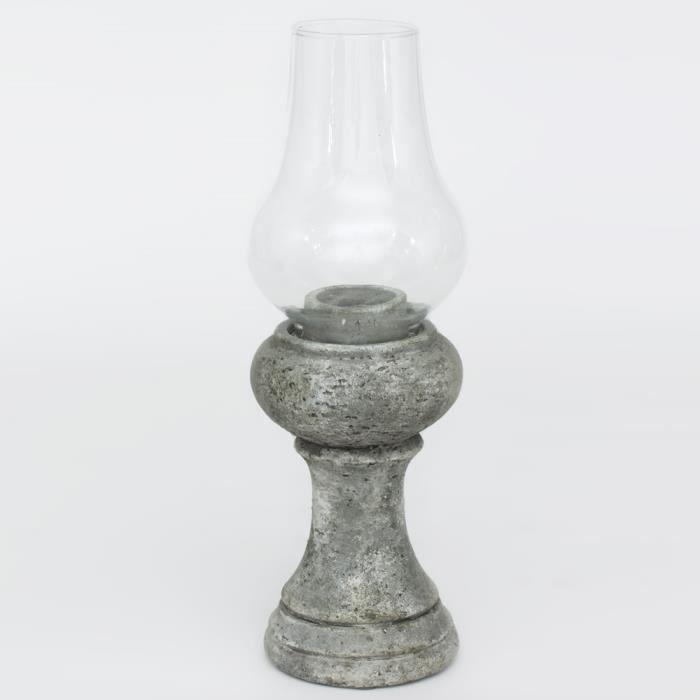 PHOTOPHORE TYPE LAMPE AVEC VERRE, BETON BRUT H33 NEURE NEUTRE
