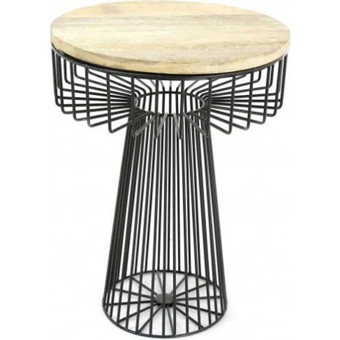 Table d'appoint en bois et métal filaire Hauteur 55.5 cm YAM