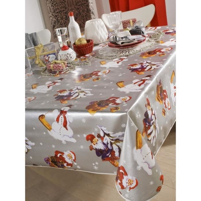nappe en toile cir e ronde 140 cm noel argent achat. Black Bedroom Furniture Sets. Home Design Ideas