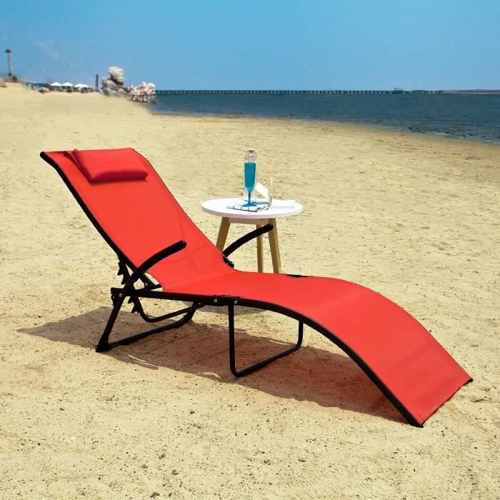 transat banc bain de soleil plage chaise longue rouge achat vente chaise longue transat banc. Black Bedroom Furniture Sets. Home Design Ideas