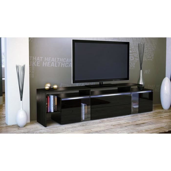 meuble tv design noir avec led 187 cm achat vente meuble tv meuble tv design noir avec led. Black Bedroom Furniture Sets. Home Design Ideas