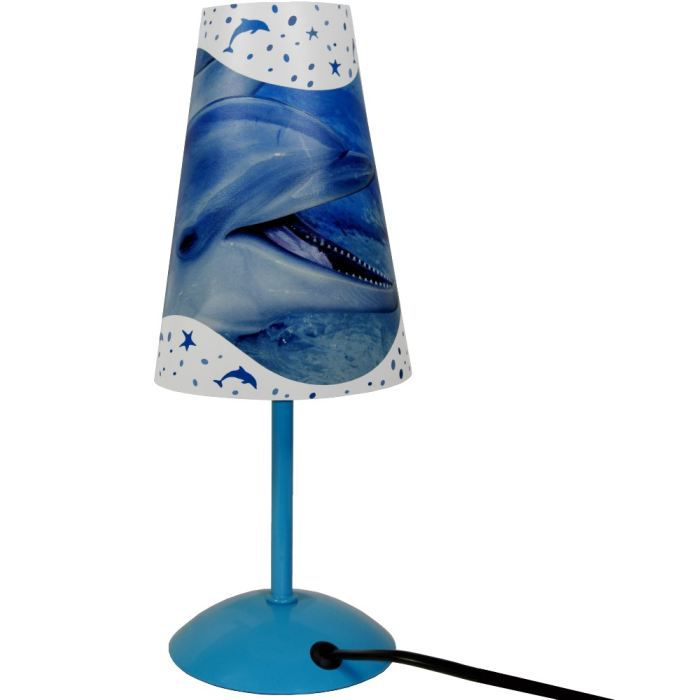 lampe de chevet abat jour dauphin zen bleu azur achat vente lampe de chevet abat jour d. Black Bedroom Furniture Sets. Home Design Ideas