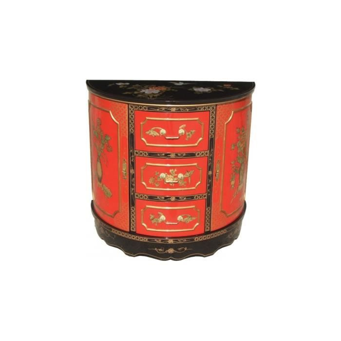 Meuble chinois laque rouge demi lune 3 tiroirs achat for Meuble style chinois