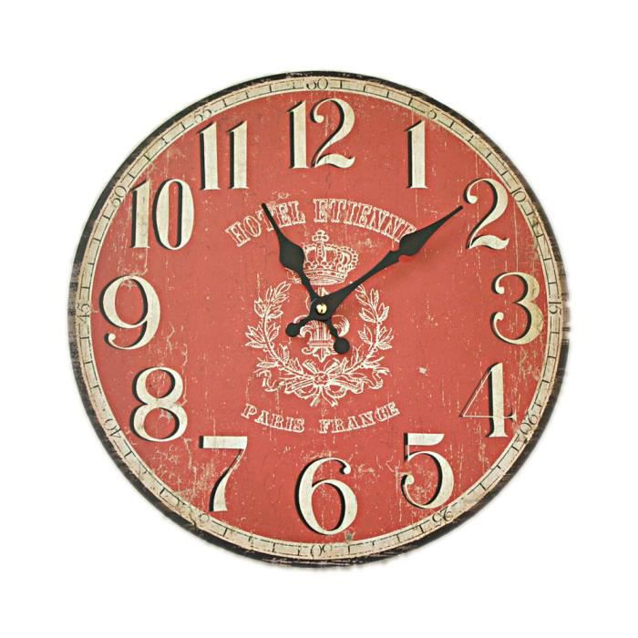 pendule horloge murale neuve deco bois rouge achat vente horloge cdiscount. Black Bedroom Furniture Sets. Home Design Ideas