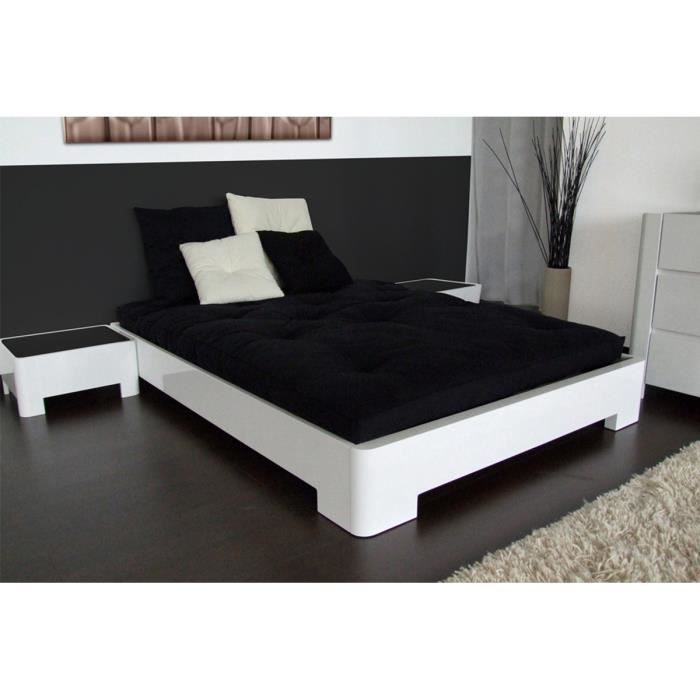 lit design 140x190 en mdf blanc laqu cazy achat vente structure de lit cdiscount. Black Bedroom Furniture Sets. Home Design Ideas
