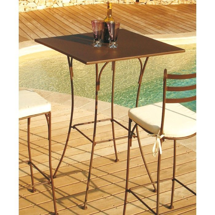 Table haute mange debout en fer forg stella achat for Table en fer exterieur