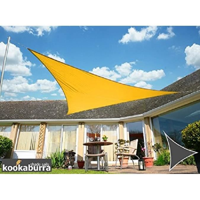 voile d 39 ombrage jaune triangle 3 6m imperm able 160g m2 achat vente parasol voile d. Black Bedroom Furniture Sets. Home Design Ideas