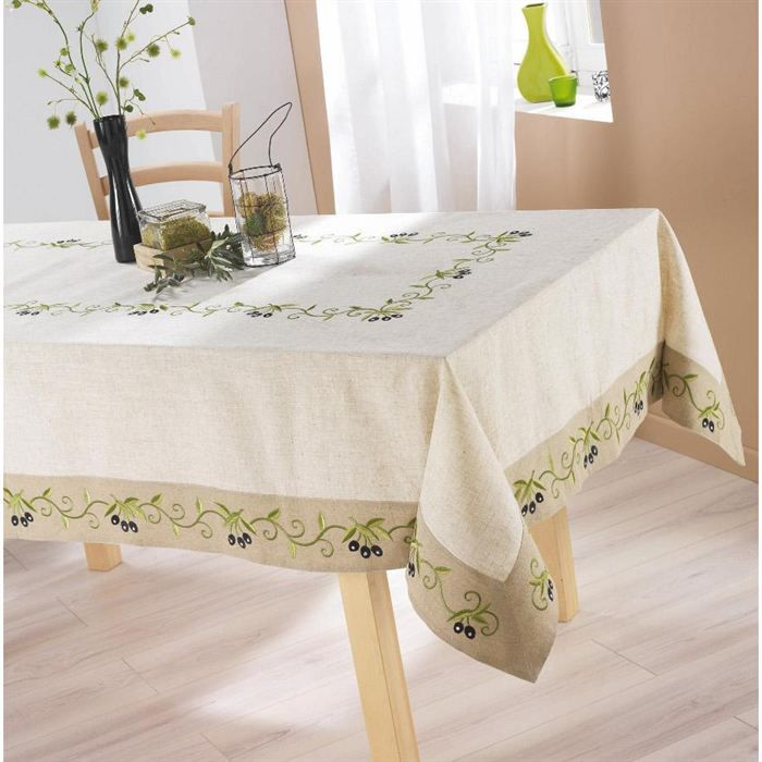 nappe de table 150x240cm olive noire lin polyester achat vente nappe de table cdiscount. Black Bedroom Furniture Sets. Home Design Ideas