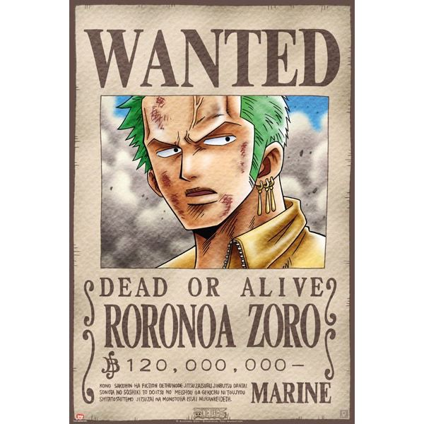 Poster one piece 39 wanted zoro 39 52x38cm achat vente - One piece wanted poster ...