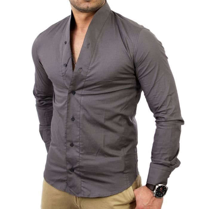 chemise homme col mao tazzio blanche 7100 gris gris. Black Bedroom Furniture Sets. Home Design Ideas
