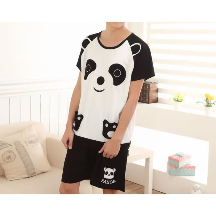 pyjama court homme coton noir blanc panda achat vente pyjama cdiscount. Black Bedroom Furniture Sets. Home Design Ideas