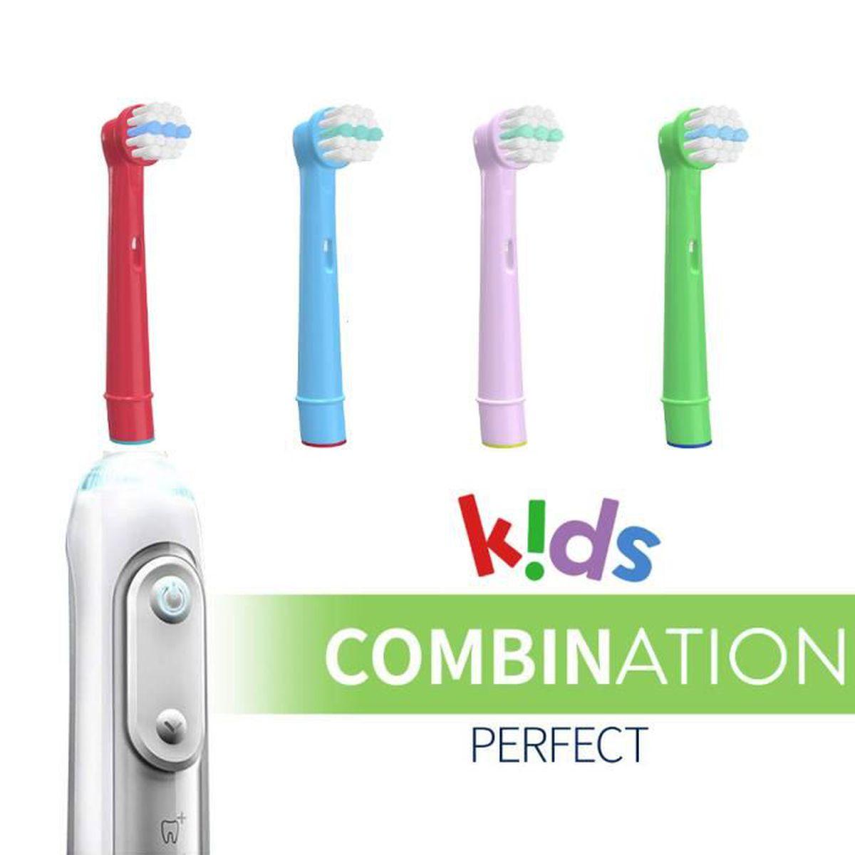 BROSSE A DENTS 4 Brossettes Enfant KiDs Compatibles - CANDORE® -
