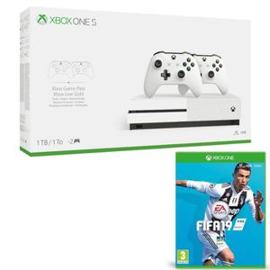 CONSOLE XBOX Xbox One S 1 To + 2 manettes + Fifa 19