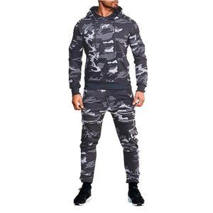 Homme Camouflage Armée Imprimé Survêtement Zippée à Capuche Veste à Capuche Pantalon Haut Set