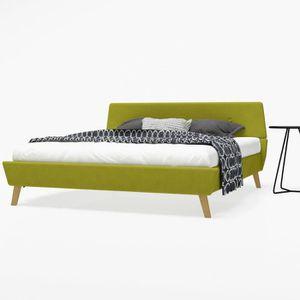 STRUCTURE DE LIT Cadre de lit avec sommier à lattes Tissu 160 x 200
