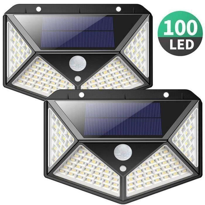 2 pack lampe solaire exterieur 100 led de éclairage Détecteur de Mouvement Lumière murale