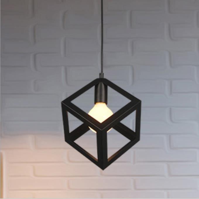 MOGOD Lot de 2 Rétro Vintage Lustre Suspension Industrielle Cage Cube Carré Fer Abat-jour Métal Luminaire pour Salon Escalier Chambr
