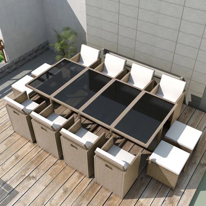 linximall��-Salon de jardin encastrable avec coussins 13 pcs Rotin Beige