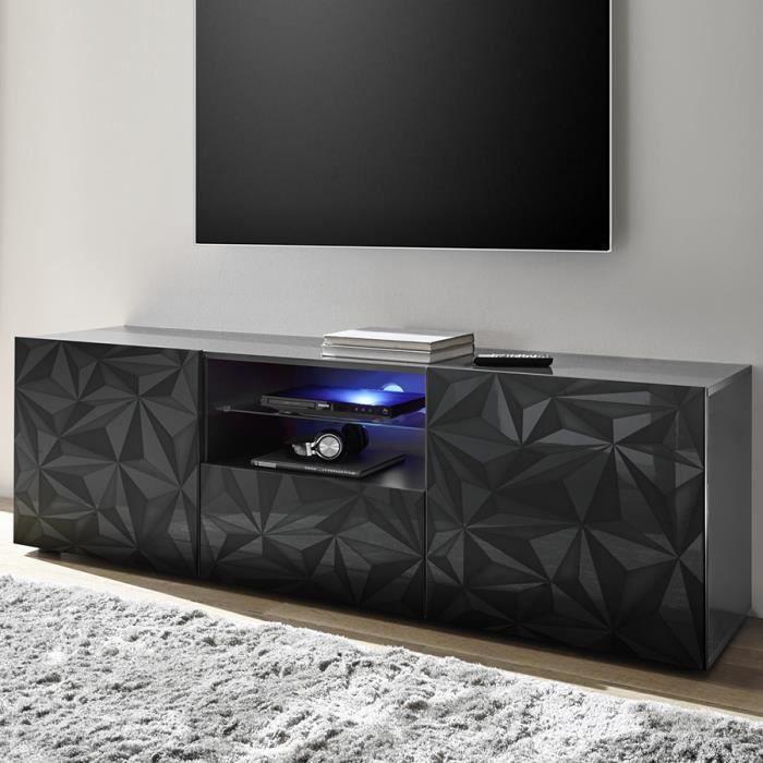 Grand meuble TV design gris laqué sans éclairage NINO 2 181 x P 42 x H 79 cm Gris