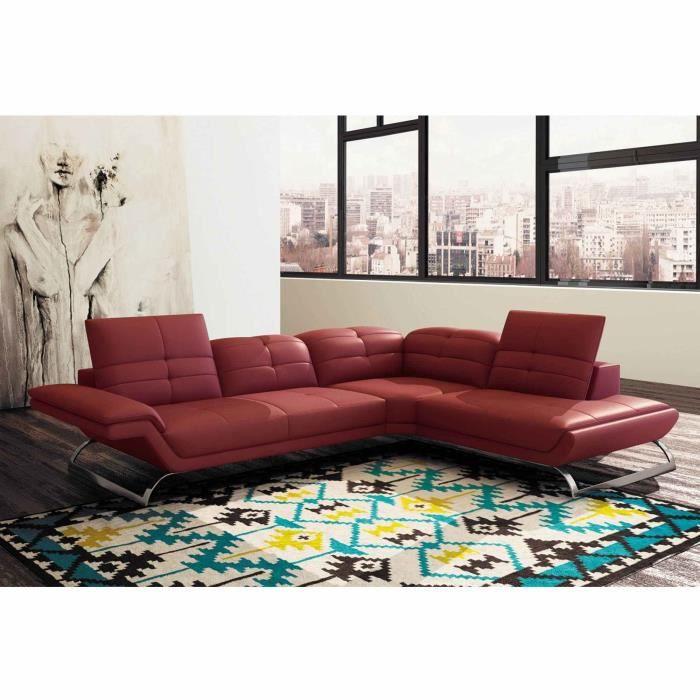 Canapé d'angle design en cuir rouge AURORE (ANGLE DROIT)