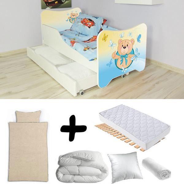 Pack complet Lit tiroir junior Ourson = Lit+Matelas & Parure+Couette+Oreiller