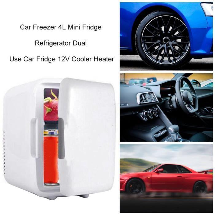 Congélateurs 4L Réfrigérateur Maquillage Voiture Réfrigérateur Petit Réfrigérateurs Double Usage pour Maison Pièce Voiture - Blanc