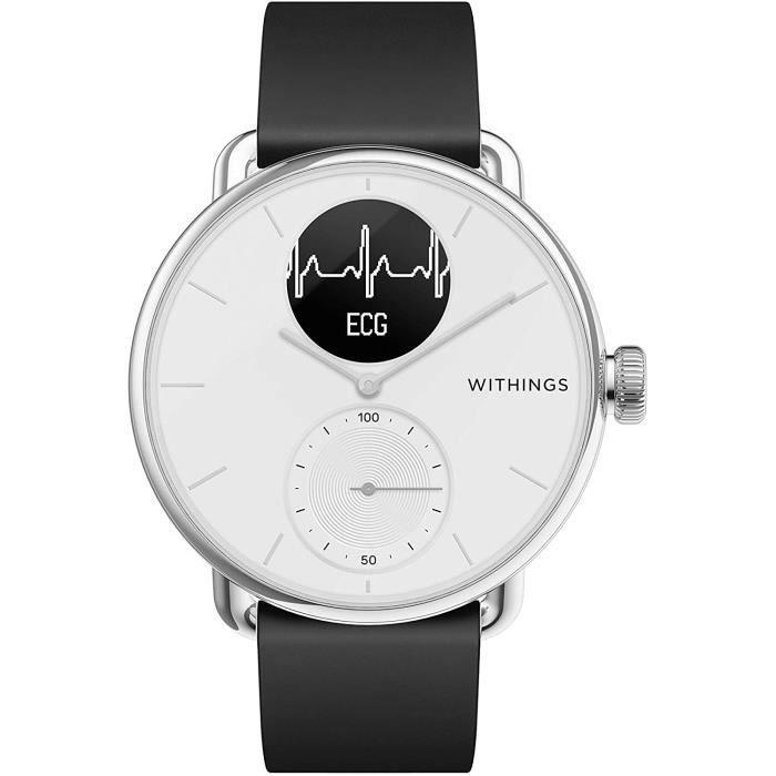 MONTRE CONNECTEE SPORT Withings Scanwatch Montre Connect&eacutee Hybride avec ECG, Fr&eacutequence Cardiaque, SPO2 et Suivi du285