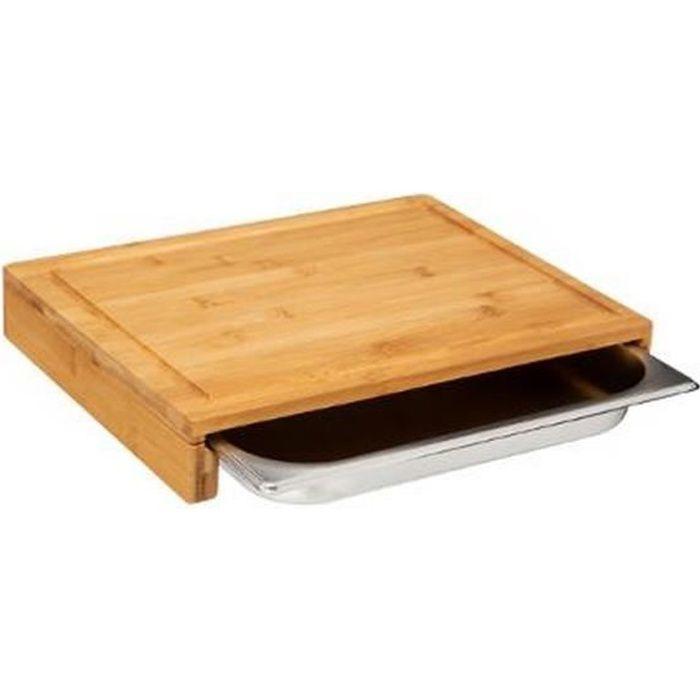Planche à découper bambou avec bac inox