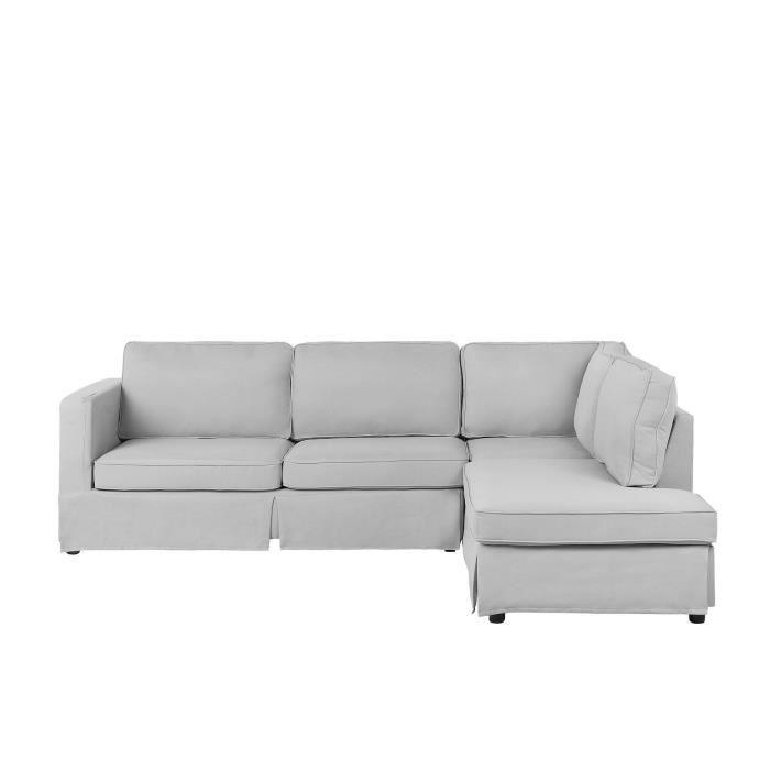 Canapé angle à gauche en tissu gris clair BONDAL
