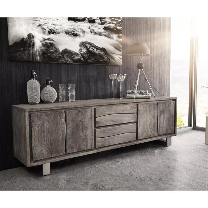 Meuble-TV Live-Edge acacia platine 200 cm 4 portes 2 tiroirs bordure d'arbre Lowboard