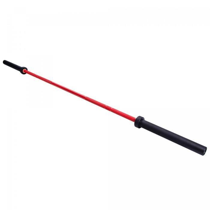 Barre longue Olympique 50 mm - Version premium - Noir/ rouge