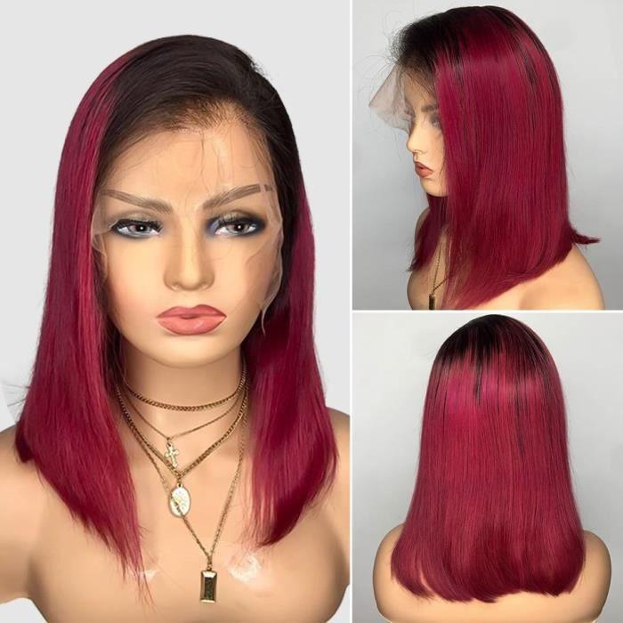 16pouce Perruque Bob Wig brésilienne lisse courte couleur bordeaux 1B99J 4x4 lace closure wig lace closure wig