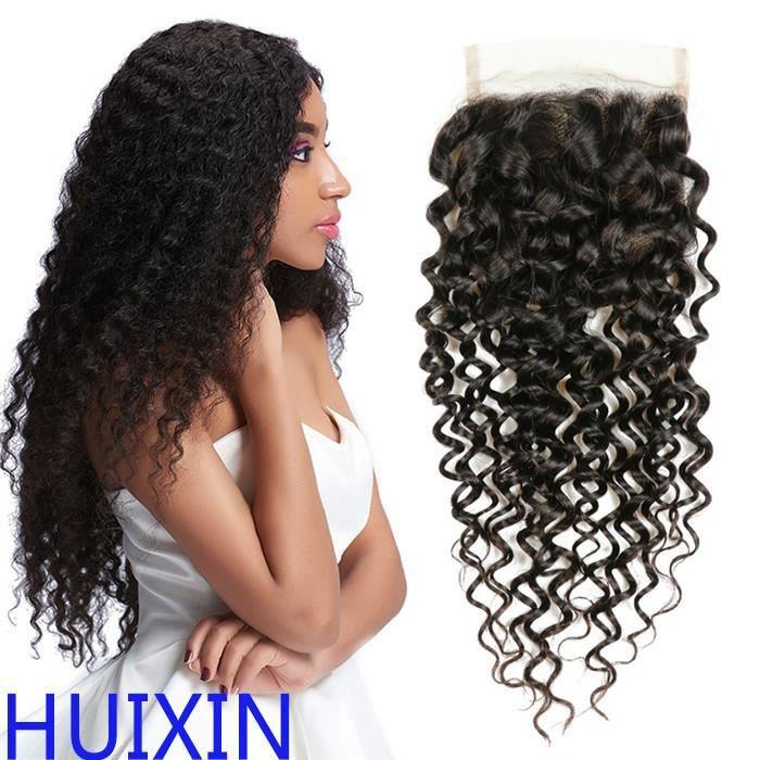 1 pièce 4x4 Lace Closure Malaysian Kinkly Curly 100% cheveux naturels couleur naturelle 10 Pouces(25.4cm)Free Part