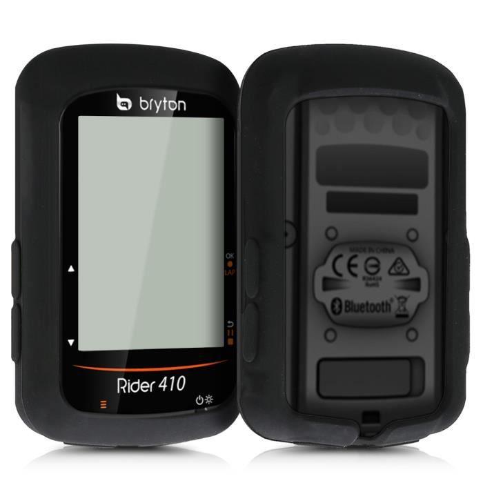 kwmobile Housse GPS vélo - Accessoire pour Bryton Rider 410 / 450 - Protection boitier navigateur - Étui en silicone noir