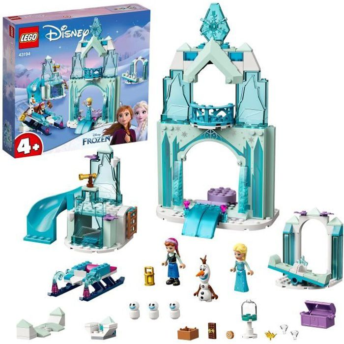 LEGO® 43194 Disney® Le monde féérique d'Anna et Elsa de la Reine des Neiges avec château et poupées de princesses, enfant 4 ans et p