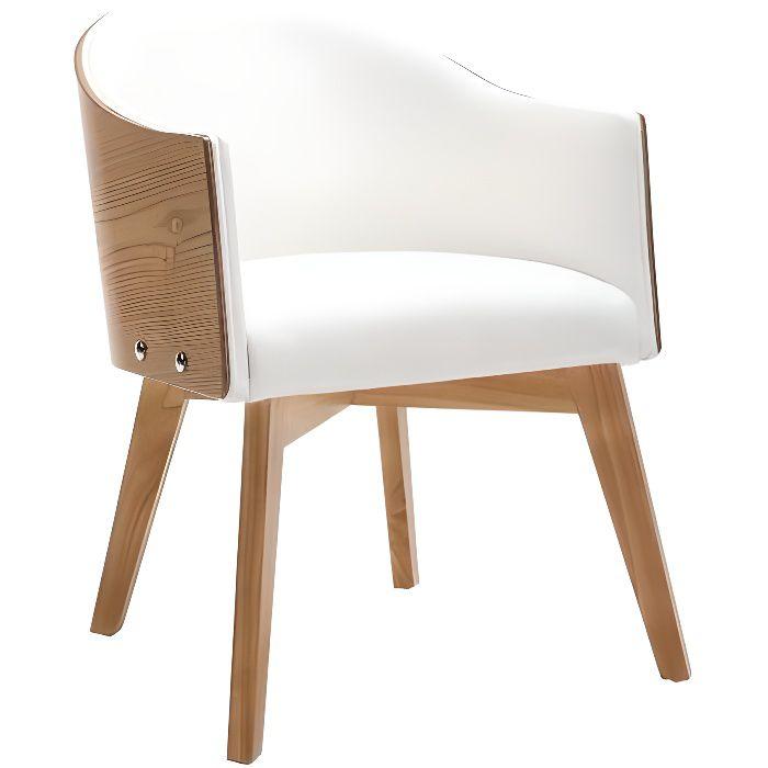 Miliboo - Fauteuil design bois clair et PU blanc NORDECO